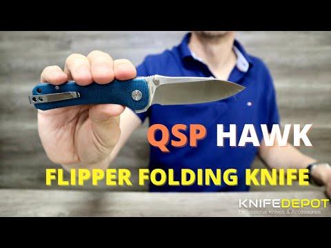 QSP HAWK | Flipper Folding Knife with DAMASCUS STEEL