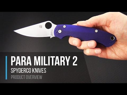 Spyderco Knives Para Military 2 CPM S110V Blue G10 Folding Knife Overview